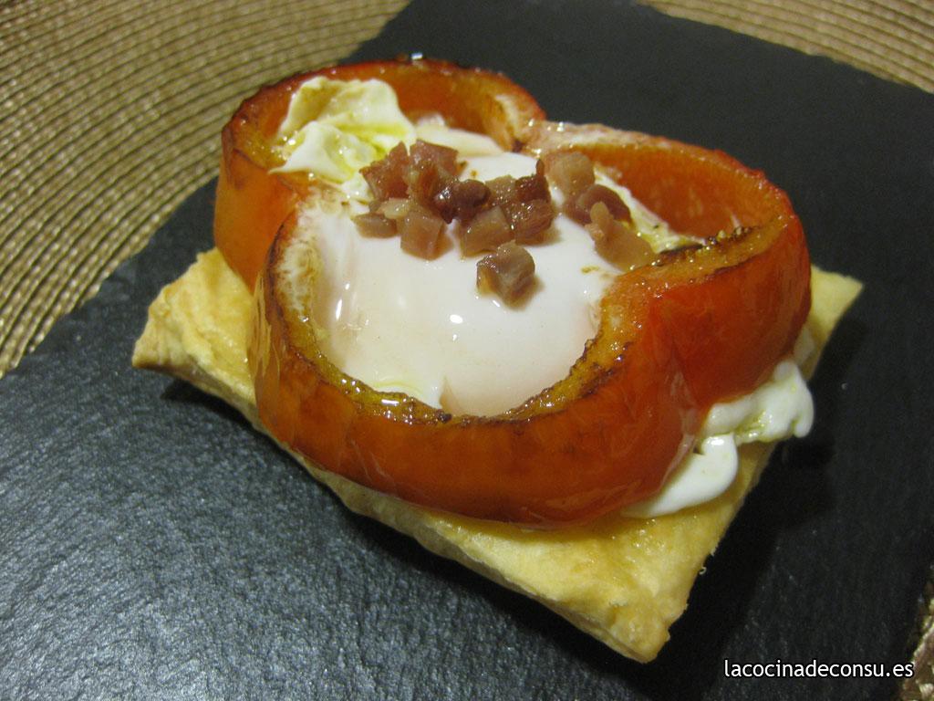 Pimiento con huevo frito