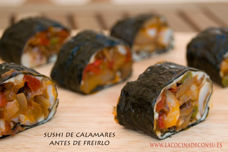 Sushi frito de calamares. Antes de freirlo