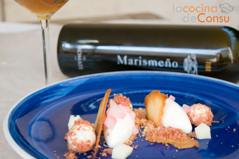Texturas de queso con vino fino de Jerez crujiente