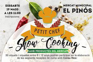 Cartel del showcooking en el mercado de Pinoso