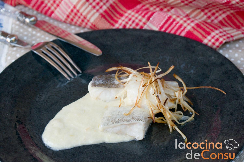 Bacalao con salsa de puerros