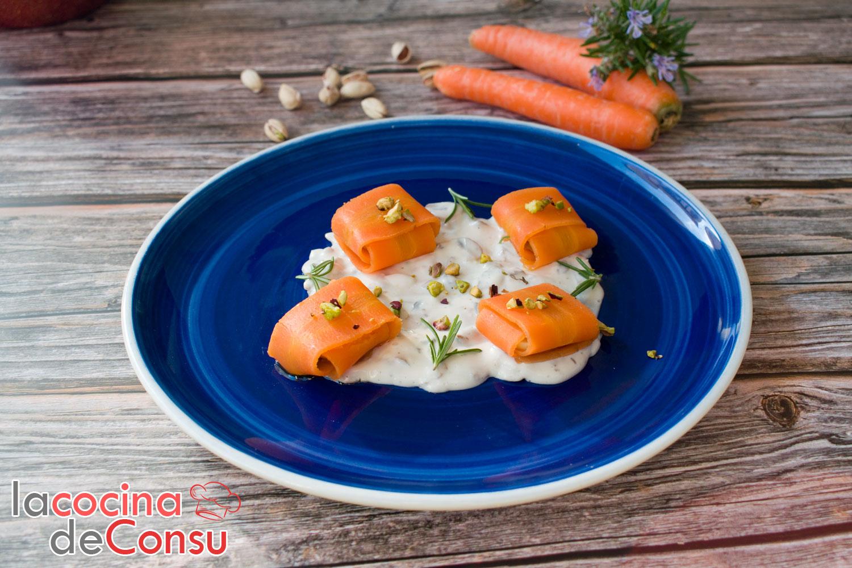 Raviolis de zanahoria con crema de champiñón y romero